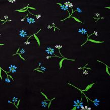 Blue Green Flowers on Black - 100% Viscose Print